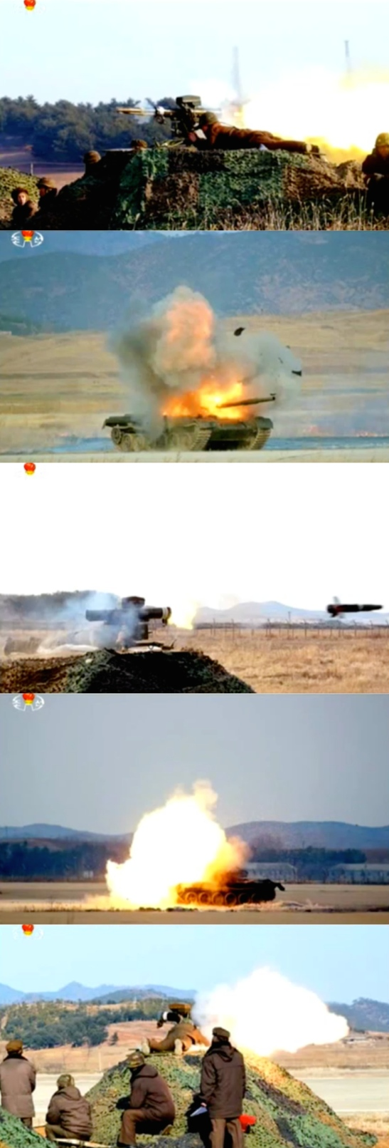 Stills aired on Korean Central Television [KCTV] showing what DPRK state media described as a portable laser guided anti-tank weapon (Photos: KCTV/KCNA/NK Leadership Watch screen grab).