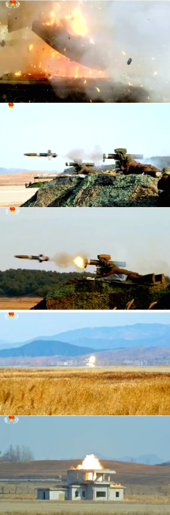 Stills from Korean Central Television News showing the test of anti-tank weapons (Photos: KCNA/KCTV/NK Leadership Watch screen grab).