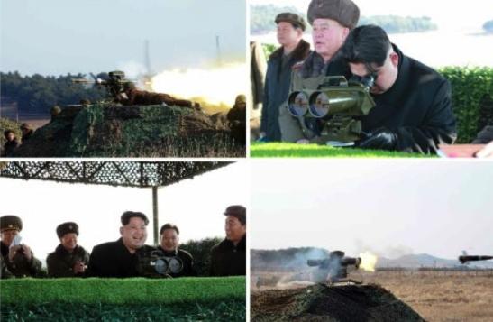 Kim Jong Un observes the test of anti-tank weapons (Photos: KCNA/Rodong Sinmun).