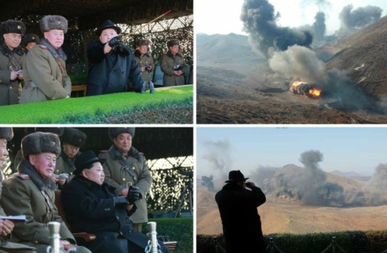 Kim Jong Un watches military exercises by elements of the Pyongyang Defense Command, 425th Mechanized Corps and the 815th Mechanized Corps (Photo: Rodong Sinmun/KCNA).