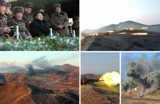 Kim Jong Un and senior KPA commanders observe combined forces exercises (Photo: Rodong Sinmun/KCNA).