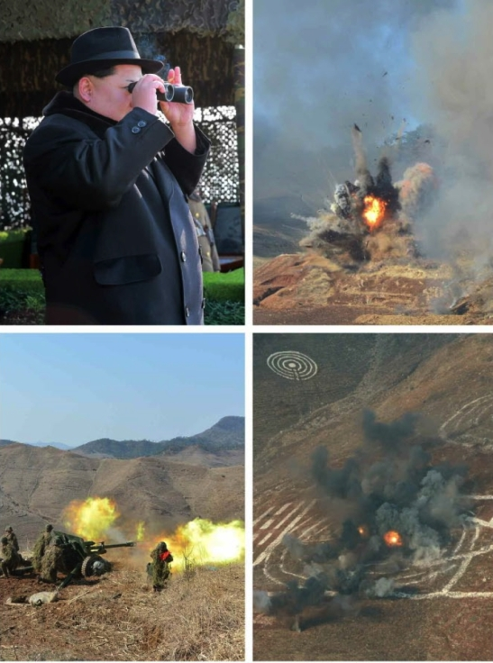 Kim Jong Un observes combined arms training exercises by the PDC and two elements of the DPRK's mechanized forces (Photos: Rodong Sinmun/KCNA).