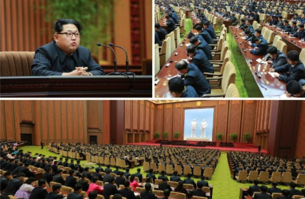 Kim Jong Un speaks during a state awards ceremony for personnel involved in the country's February 7 rocket launch (Photos: KCNA/Rodong Sinmun).