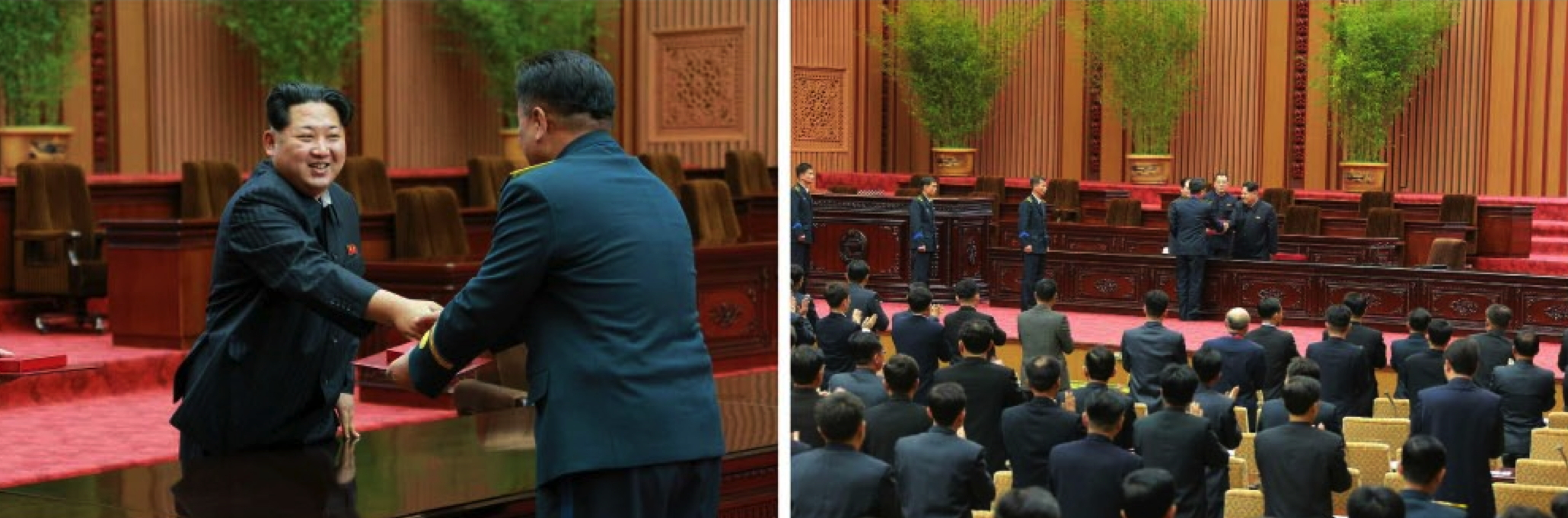 Kim Jong Un presents awards to personnel involved in the KMS-4 launch on February 17, 2016 (Photos: KCNA/Rodong Sinmun).