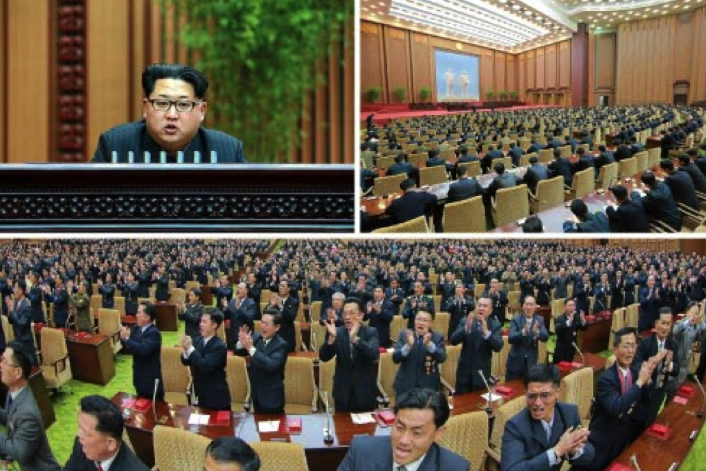 Kim Jong Un addresses a state awards ceremony for personnel involved in the launch of the Kwangmyo'ngso'ng-4 (Photos: KCNA/Rodong Sinmun).
