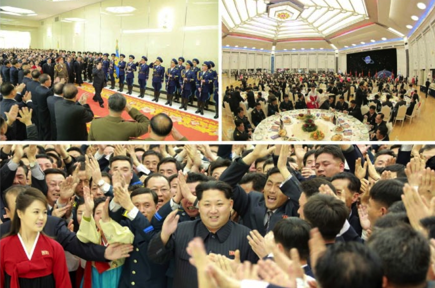Kim Jong Un arrives and attends a banquet at the WPK Central Committee's Mokran (peony) House in central Pyongyang on February 14, 2016. The banquet was hosted for personnel who participated in the successful launch of the Kwangmyo'ngso'ng-4 on February 7, 2016 (Photos: KCNA/Rodong Sinmun).