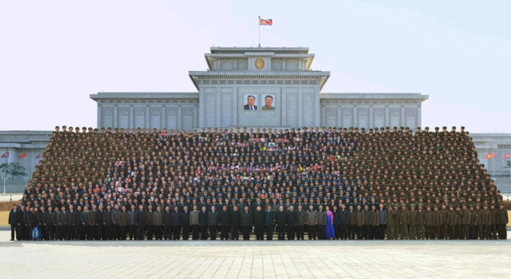 Kim Jong Un and personnel involved in the Kwangmyo'ngso'ng-4 rocket launch pose for a commemorative photo outside Ku'msusan Memorial Palace of the Sun in Pyongyang on February 17, 2016 (Photo: Rodong Sinmun).