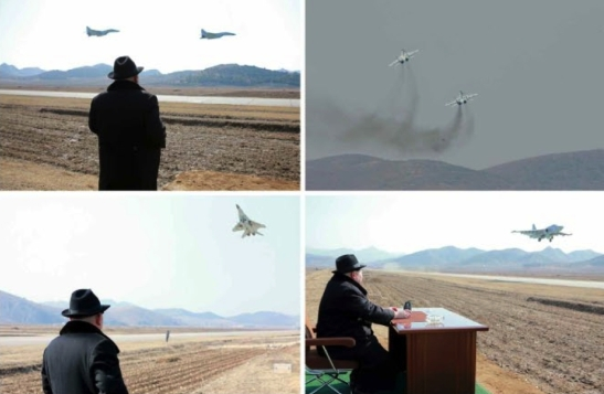 Kim Jong Un observes an impromptu combat aviation exercise at a highway air strip (Photos: Rodong Sinmun/KCNA).