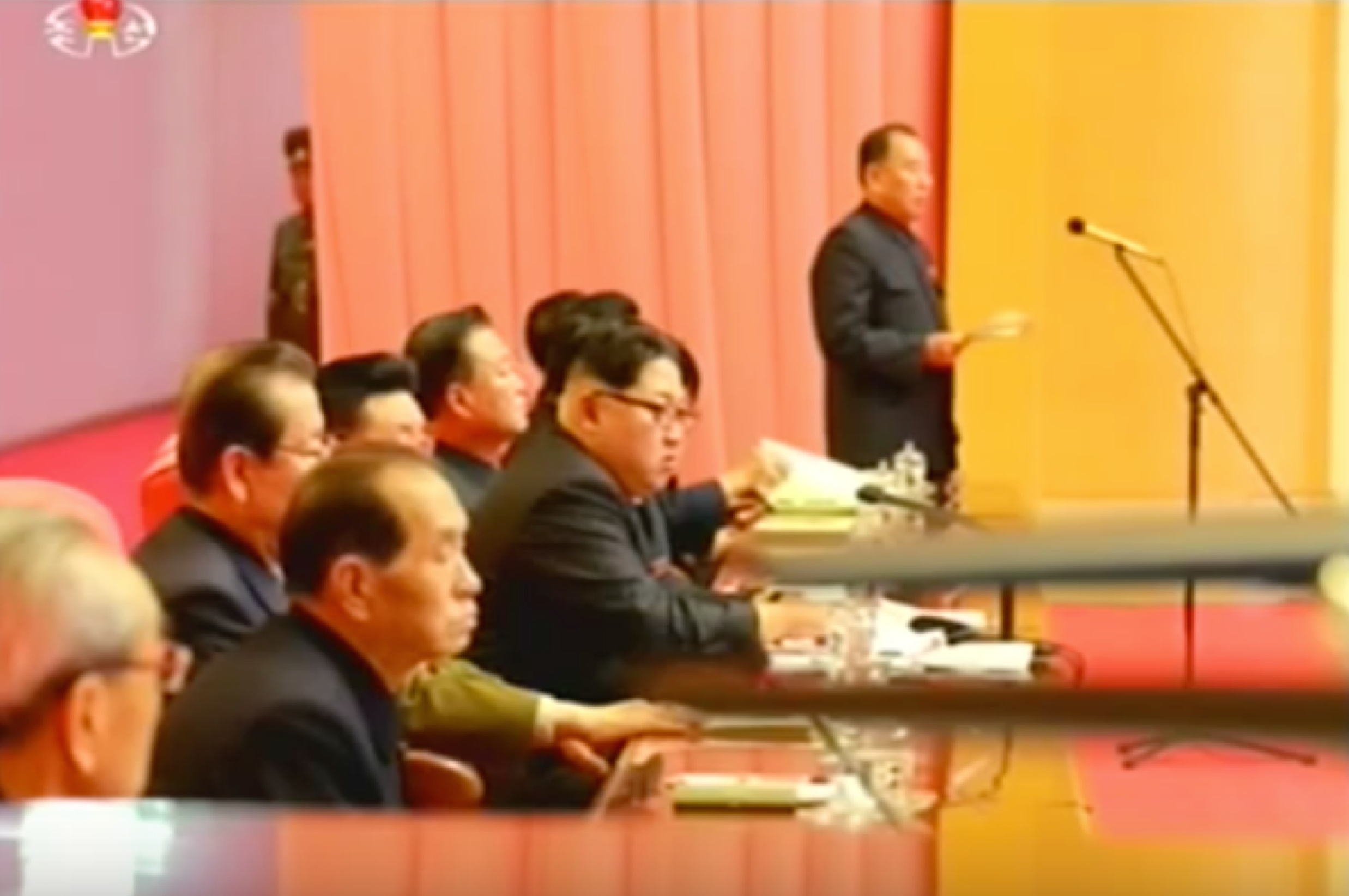 Kim Yong Chol speaks during the joint expanded meeting of the WPK Central Committee and KPA WPK Committee (Photo: KCTV screengrab).