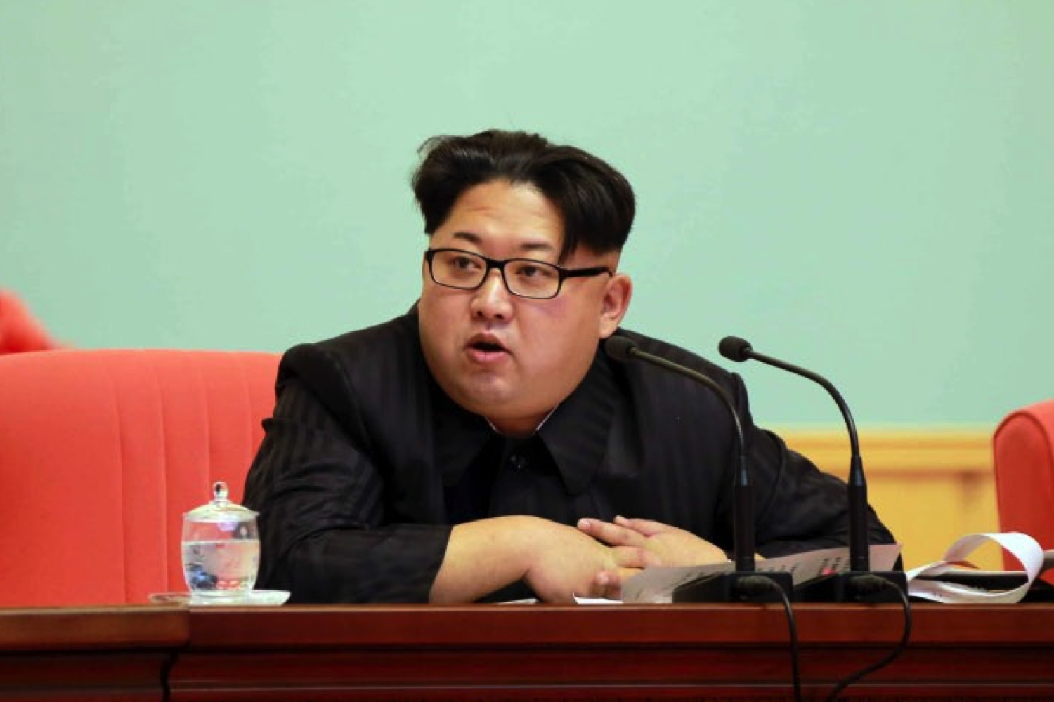 Kim Jong Un speaks at a joint expanded meeting of the WPK Central Committee and KPA WPK Committee at the April 25 House of Culture in Pyongyang (Photo: Rodong Sinmun).