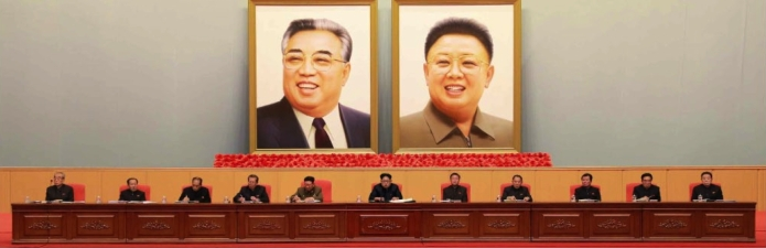View of the platform of the expanded joint meeting of the WPK Central Committee and KPW WPK Committee held at the April 25 House of Culture on February 2 and February 3, 2016 (Photo: Rodong Sinmun).
