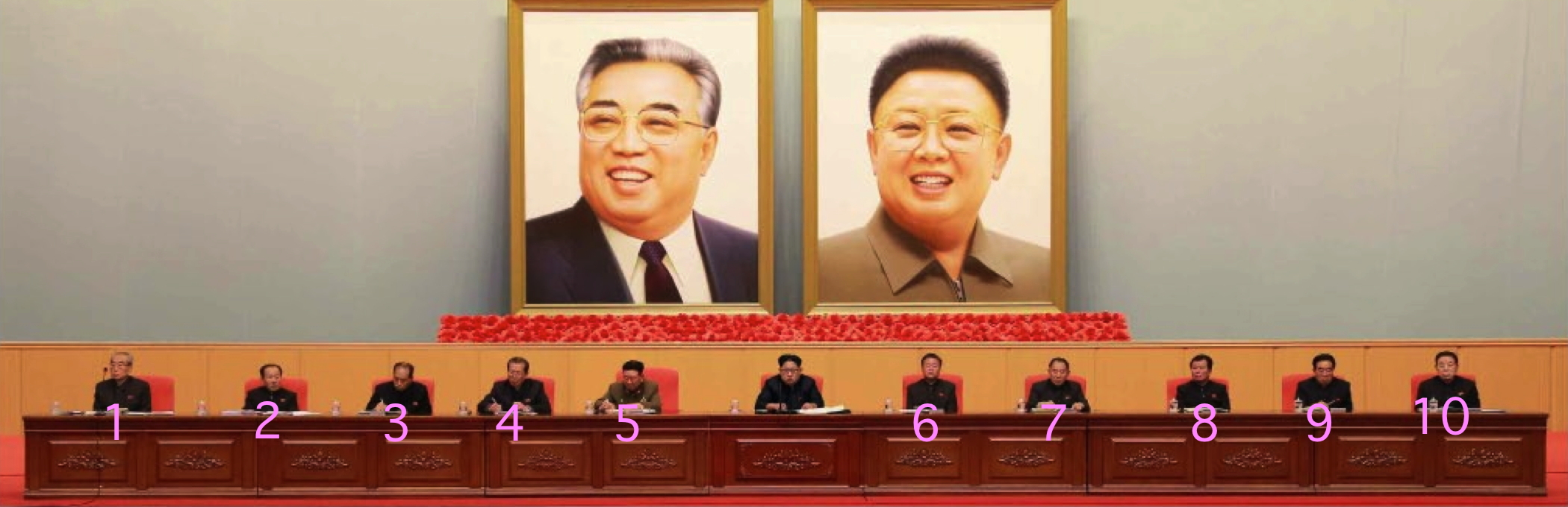 Platform at the expanded WPK CC and WPK KPA Committee meeting: Kim Ki Nam (1); Jo Yon Jun (2); Kwak Pom Gi (3); Choe T'ae Bok (4); Hwang Pyong So (5); Choe Ryong Hae (6); Kim Yong Chol (7) ; O Su Yong (8); Kim P'yo'ng-hae (9); and Kim Kyo'ng-ok (10) (Photo: Rodong Sinmun).
