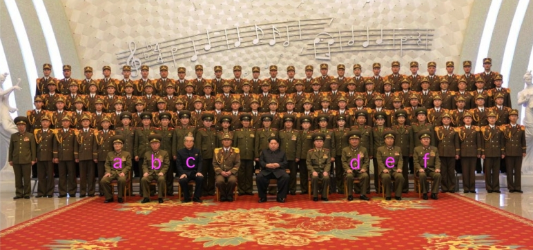 Commemorative photo of DPRK leadership and the KPA Military Band published in the February 23, 2016 edition of Rodong Sinmun.  In attendance were: KPA General Propaganda Department head Lt. Gen. Ryom Chol Song [a]; Chief of the KPA General Staff Gen. Ri Myo'ng-su [b]; WPK Secretary and Director of the Propaganda and Agitation Department Kim Ki Nam [c]; Minister of the People's Armed Forces Gen. Pak Yong Sik [d]; KPA Organization Department head Lt. Gen. Jo Nam Jin [e]; Military Security Command Director Gen. Jo Kyong Chol [f]