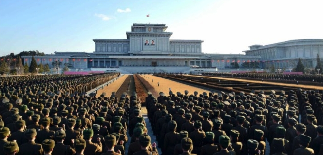 A loyalty meeting of KPA service members and officers at Ku'msusan Palace in Pyongyang on February 14, 2016 to mark Kim Jong Il's birth anniversary, the day of the shining star (Photo: Rodong Sinmun).