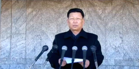 Pyongyang WPK Committee Chief Secretary Kim Su Gil delivers a report at a February 26, 2016 rally in support of the 70-day speed battle of loyalty prior to the 7th Congress of the Workers' Party Korea (Photo: KCTV).