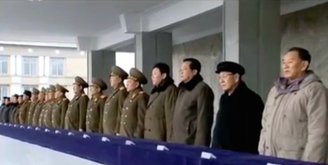 WPK Secretary Kim Yong Chol (right) and WPK Organization Guidance Department Senior Deputy Director Jo Yon Jun (2nd right) with other senior DPRK officials at the mass rally on February 8, 2016 (Photo: KCTV screengrab).