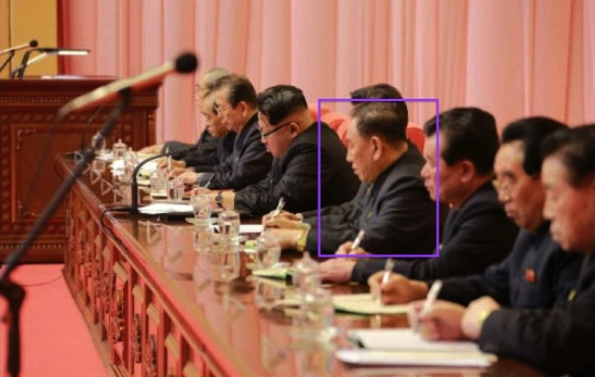 A man resembling Kim Yong Chol makes notes during a joint meeting of the WPK Central Committee and KPA WPK Committee in Pyongyang, held on February 2 and February 3, 2016 (Photo: Rodong Sinmun).