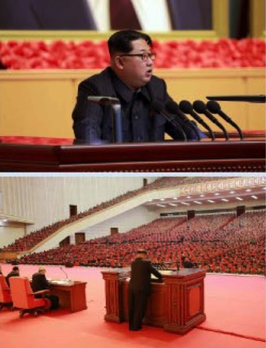 Kim Jong Un addresses a joint expanded meeting of the WPK Central Committee and KPA Party Committee at the April 25 House of Culture in Pyongyang (Photos: KCNA).