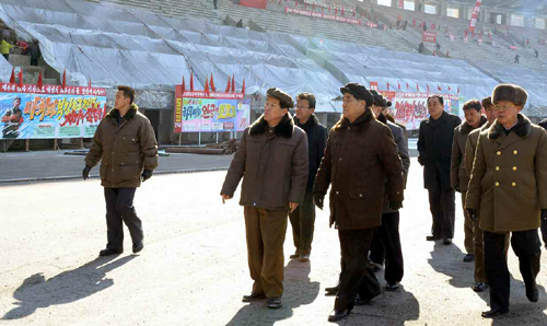 DPRK Premier Pak Pong Ju tours the renovation of Kim Il Sung Stadium in Pyongyang (Photo: Rodong Sinmun).