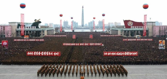 View of Pyongyang citizens in Kim Il Sung Square in central Pyongyang on February 8, 2016 during a mass rally celebrating the launch of the Kwangmyo'nso'ng rocket (Photo: Rodong Sinmun).