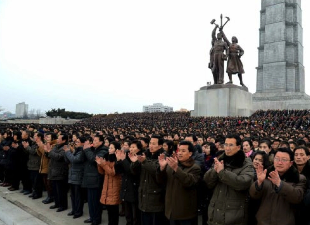 Pyongyang citizens gathered in front of the Chuch'e Tower in east Pyongyang on February 8, 2016 as they gather for a mass rally celebrating the launch of the Kwangmyo'ngso'ng (Photo: Rodong Sinmun).
