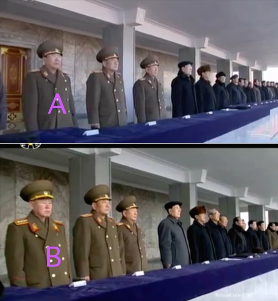 Gen. Ri Yong Gil (A) attending the January 8, 2016 event celebrating the DPRK's fourth nuclear test. Gen. Ri Myong Su (B) attending the February 8, 2016 event celebrating the launch of the KMS-4 (Photos: KCTV screengrabs).