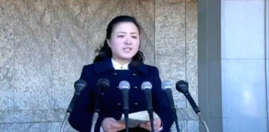 A speaker at a loyalty rally held in Kim Il-so'ng Square in Pyongyang on Feburary 26, 2016 (Photo: KCTV).