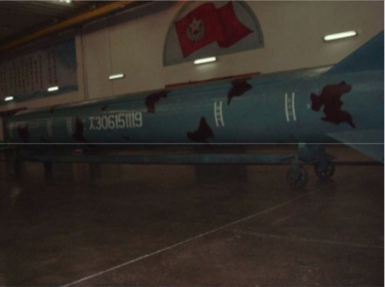 Image of a mockup of the Nodong missile at T'aeso'ng Machine Factory. The image was taken during a 2008 visit by a military delegation from Myanmar (Photo: KPA Journal/NK Economy Watch).