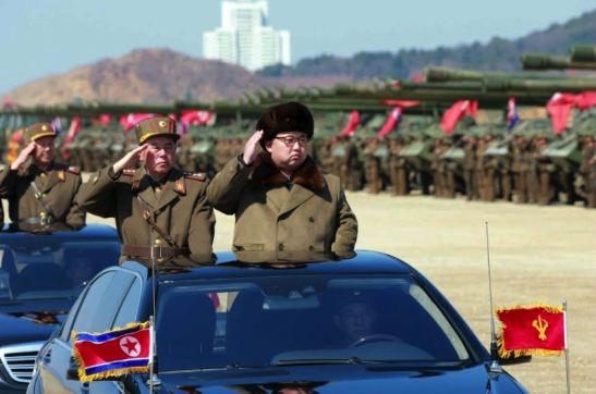 Kim Jong Un arrives to the artillery drill accompanied by Chief of the KPA General Staff General Ri Myong Su (Photo: Rodong Sinmun).