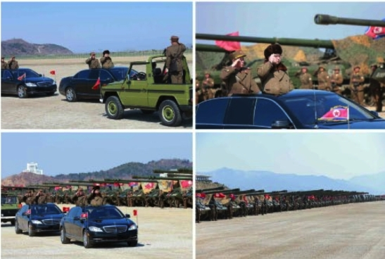 Kim Jong Un participates in a brief ceremony prior to a large scale artillery drill by KPA large combined units (Photos: Rodong Sinmun).