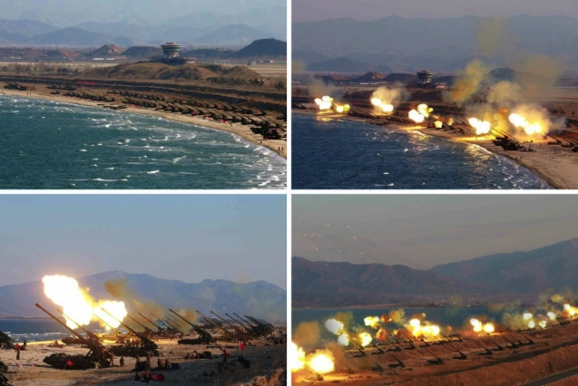 Long-range artillery exercises held in Kangwo'n Province on or around March 24, 2016(Photos: Rodong Sinmun/KCNA)