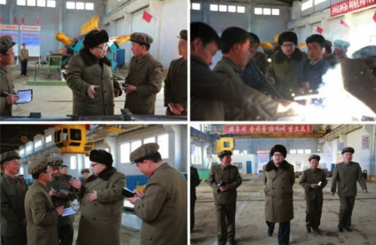 Kim Jong Un tours shops at the February 11 Plant of the Ryongso'ng Machine Complex in Hamhu'ng, South Hamgyo'ng Province (Photos: Rodong Sinmun/KCNA).