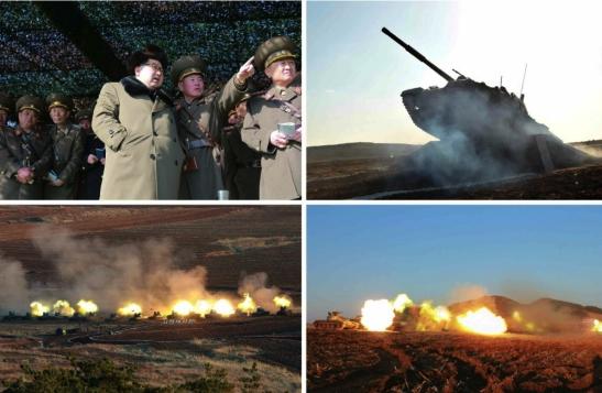 Kim Jong Un wwatches the 2016 KPA Tank Competiton (Photos: KCNA/Rodong Sinmun).