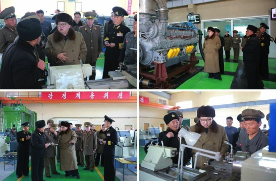 Kim Jong Un is briefed about the renovation and production at the October 3 Factory (Photos: Rodong Sinmun/KCNA).