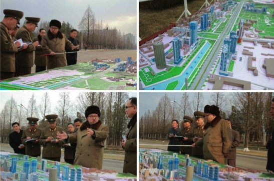 Kim Jong Un issues instructions about the development of Ryomyo'ng Street, envisioned as a new residential district for academics and other personnel in Pyongyang (Photos: Rodong Sinmun/KCNA).