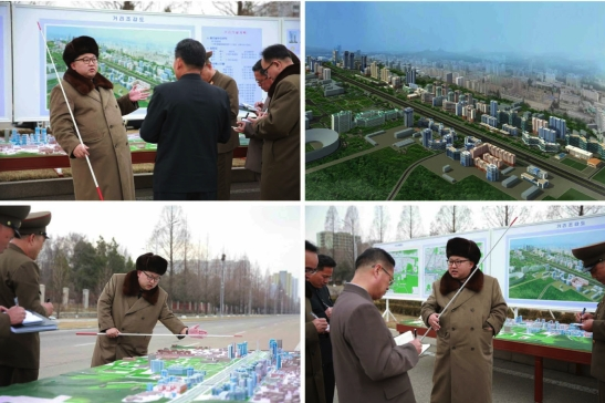 Kim Jong Un issues instructions on the development of a residential area in Pyongyang (Photos: Rodong Sinmun/KCNA).