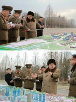 Kim Jong Un issues instructions about the layout and design of Ryomyo'ng Street in Pyongyang.  Also attending the visit was his sister Kim Yo'-cho'ng and WPK Central Committee Department deputy directors Jo Yo'ng-wo'n and Kim Chang-kwang (Photo: KCNA-Yonhap).