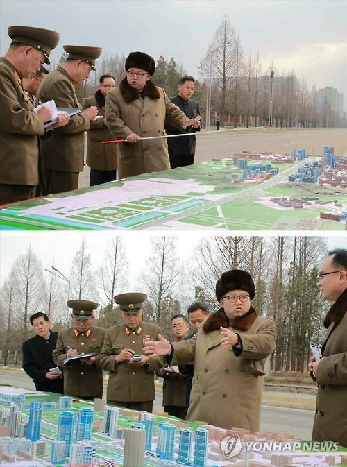 Kim Jong Un issues instructions about the layout and design of Ryomyo'ng Street in Pyongyang. Also attending the visit was his sister Kim Yo'-cho'ng and WPK Central Committee Department deputy directors Jo Yo'ng-wo'n and Kim Chang-kwang (Photo: KCNA-Yonhap).