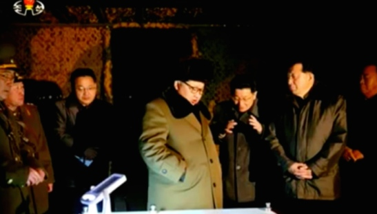 Kim Jong Un is briefed prior to the mobile ballistic missile test (Photo: KCTV screen grab).