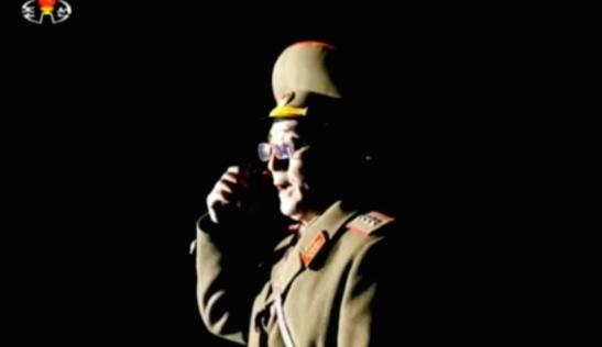 KPA  Strategic Force Commander General Kim Rak Gyom issues orders during the mobile ballistic missile test  (Photo: KCTV screen grab).