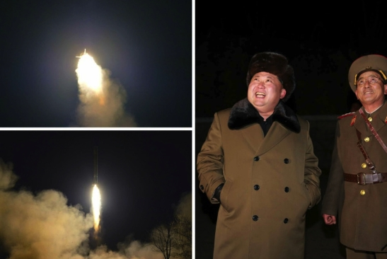 Kim Jong Un observes a a mobile ballistic missile drill. Also in attendance is General Kim Rak Gyom, commander of the KPA Strategic Command (Photos: Rodong Sinmun/KCNA).