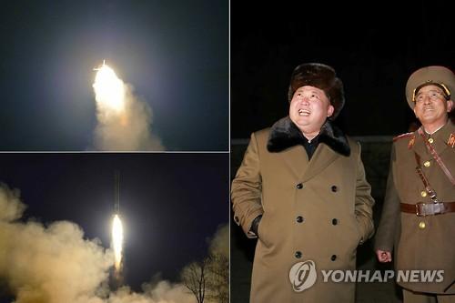 Kim Jong Un and General Kim Rak Gyom observe a mobile ballistic missile drill (Photo: KCNA-Yonhap).