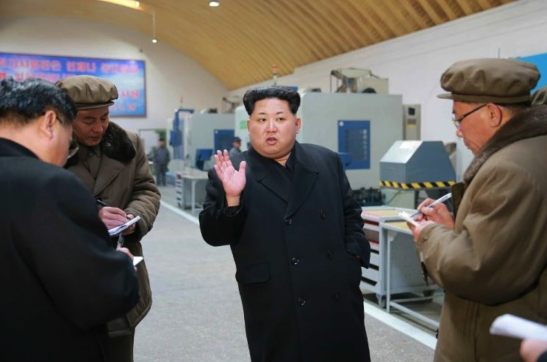 Kim Jong Un speaks during a visit to Thaesong Machine Factory in Taean-kuyo'k, Namp'o (Photo: Rodong Sinmun).