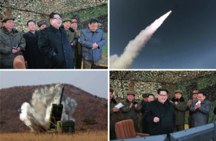 Kim Jong Un and senior WPK and KPA munitions industry officials observe the test firing of a multiple launch rocket system (Photos: KCNA/Rodong Sinmun).
