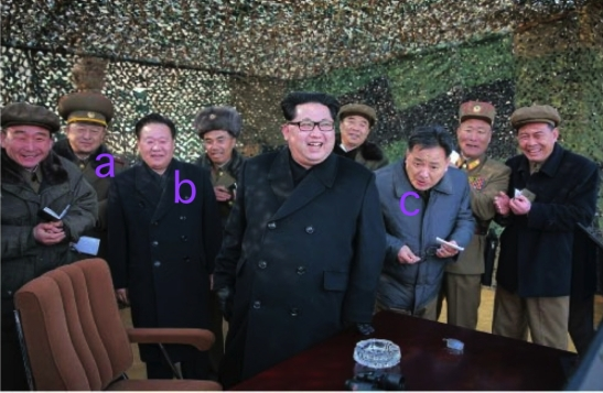 Kim Jong Un at the test firing of MLRS.  Also in attendance are Vice Minister of the People's Armed Forces Colonel-General Yun Tong Hyong [a], WPK Secretary for Workers' and Social Organizations Choe Ryong Hae [b] and WPK Machine-Building Industry (military industry) Deputy Director and missile expert Kim Jong Sik (Photo: Rodong Sinmun).