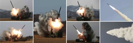 Tests of a new 300 mm multiple launch rocket system which will be deployed to Young Red Guard, Worker-Peasant Red Guard and other reserve military training units in the DPRK (Photos: KCNA/Rodong Sinmun).