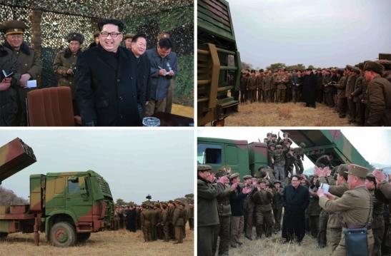 Kim Jong Un inspects a new MLRS system (Photos: Rodong Sinmun/KCNA).