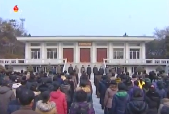 A Tree Planting Day meeting held in front of Mangyo'ngdae Revolutionary Museum in Pyongyang on March 2, 2016 (Photo: KCTV screen grab).