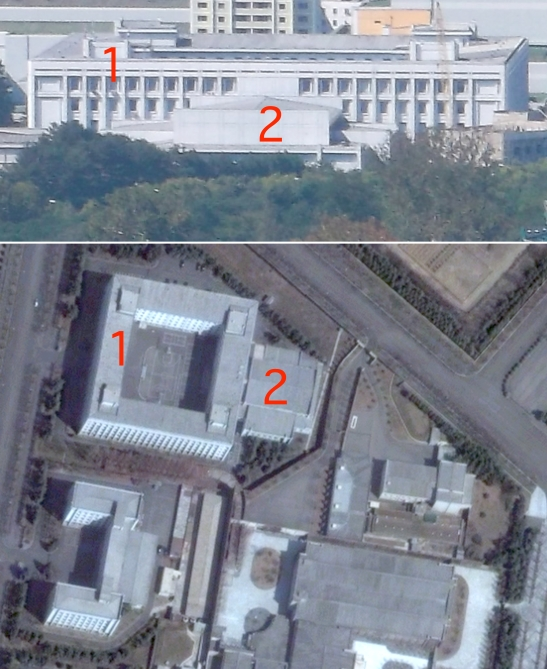 The buildings of the WPK Organization Guidance Department and Liaison Office in the WPK Central Committee Office Complex #1 in central Pyongyang (Photos: NK Leadership Watch and Digital Globe).
