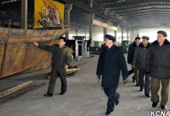 Pak Pong Ju visits Ryongnam Dockyard in Namp'o (Photo: KCNA).